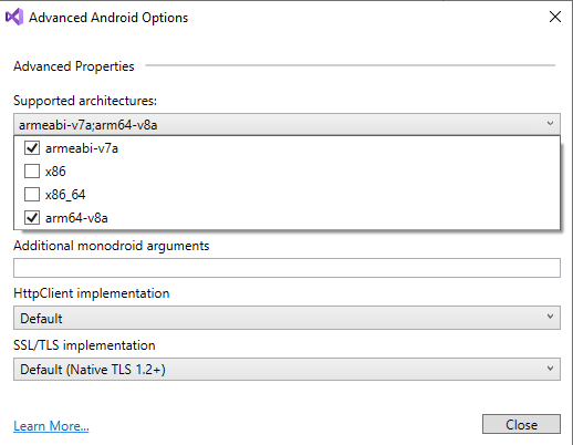 Visual Studio 2019 - Android Advanced Properties Window